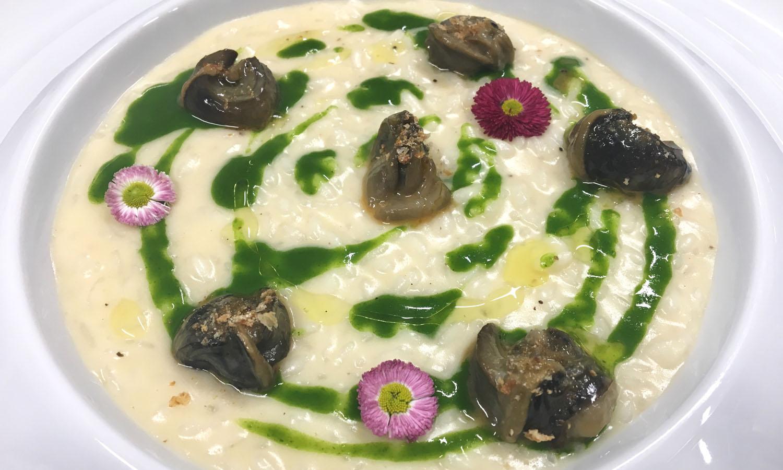 Ricetta Lumache alla parigina come un risotto e aglio ursino – chef Gian  Michele Galliano – Euthalia - Vicoforte - Chef e ricette